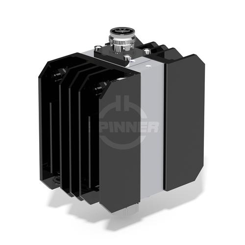 100 W 30 dB attenuator DC-4 GHz 4.3-10 male screw to 4.3-10 female product photo Front View L